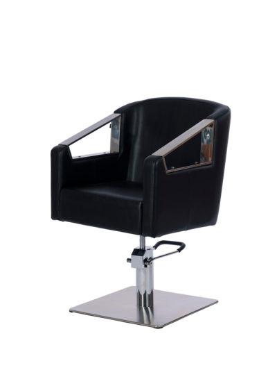 sillón de peluquería con brazos cromados